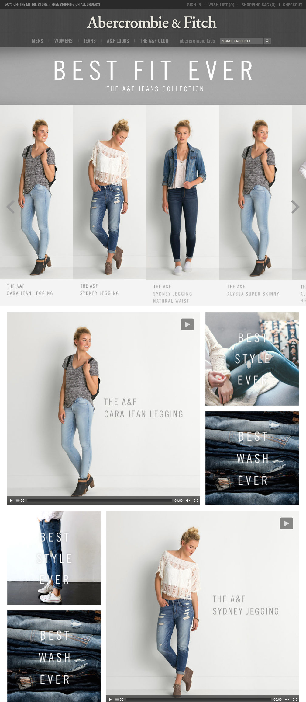 Sample of A&F Interactive Jeans Guide Experience
