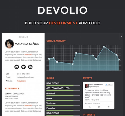 Sample of DEVOLIO - Dev Portfolio