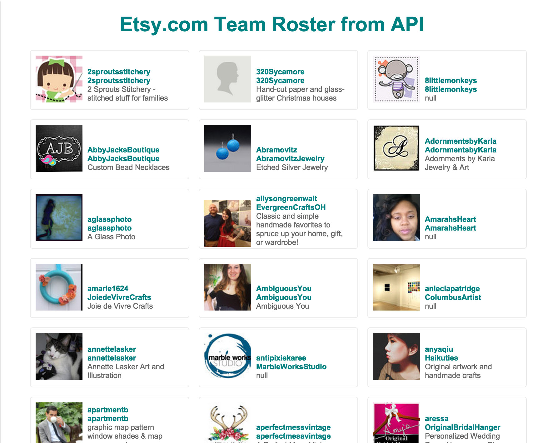 Sample of Team Roster display using Etsy.com API