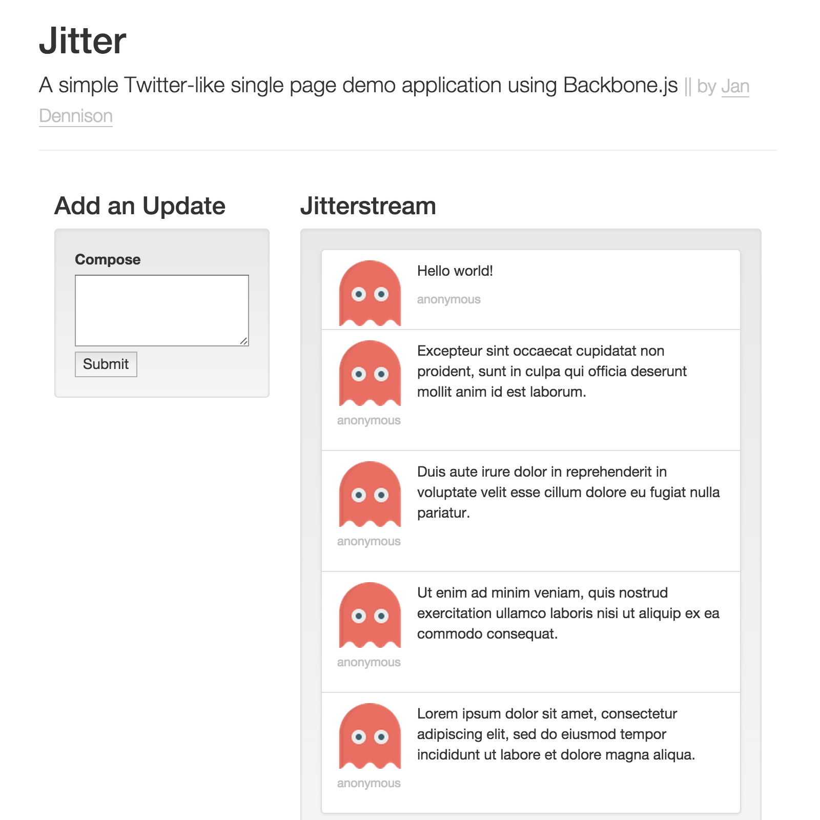 Sample of Jitter - Single Page App