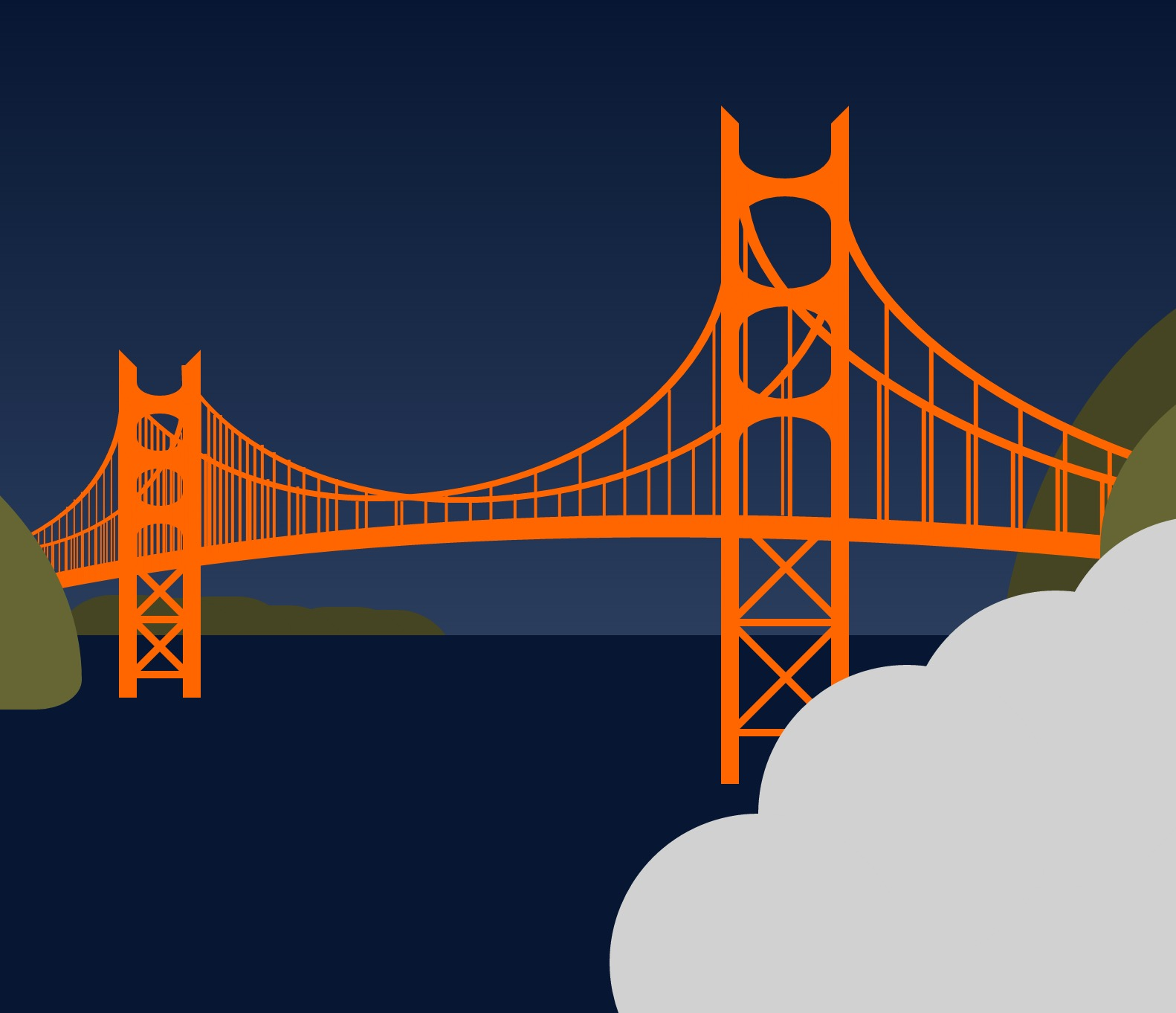 Sample of Pure CSS Golden Gate Bridge