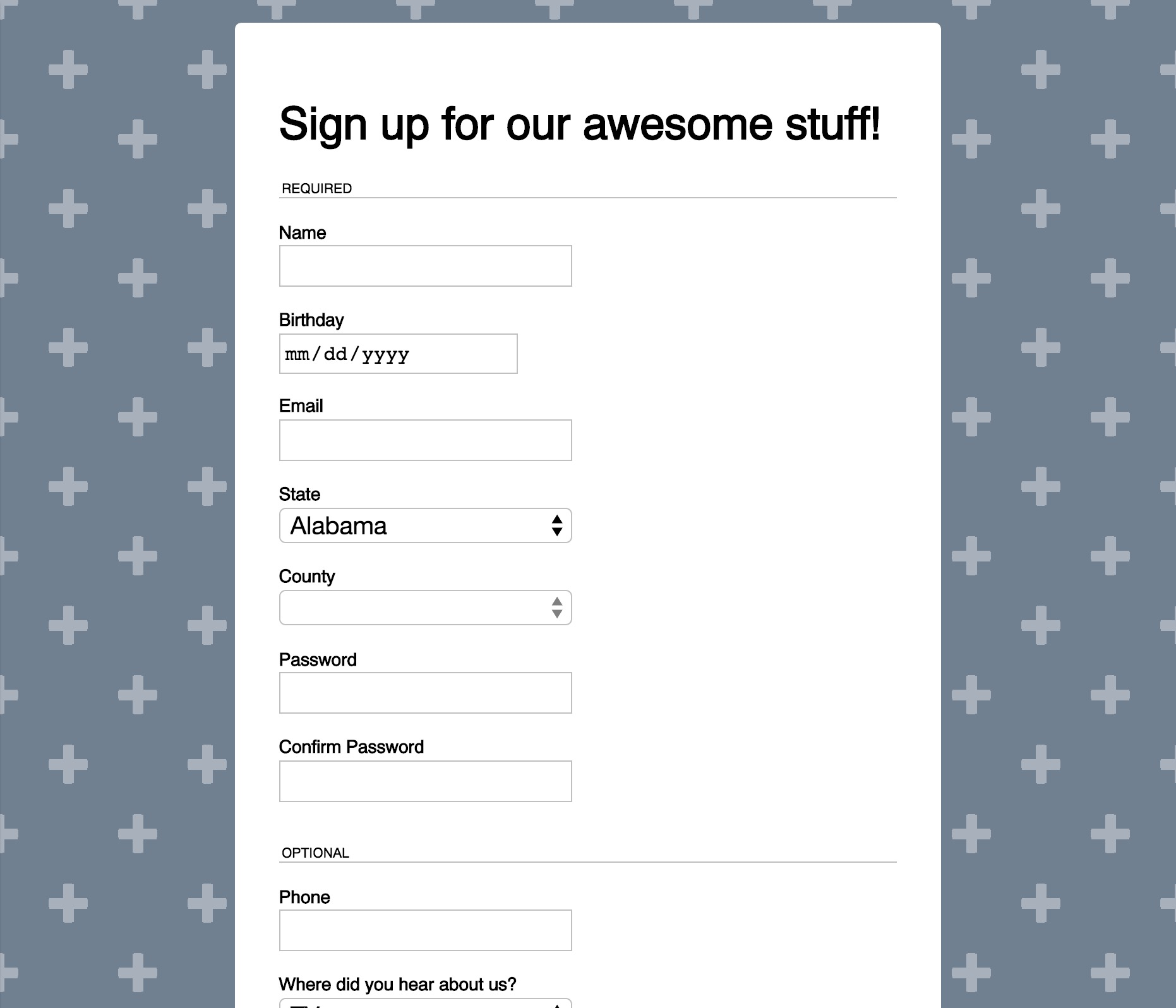 Sample of Signup Form Kata