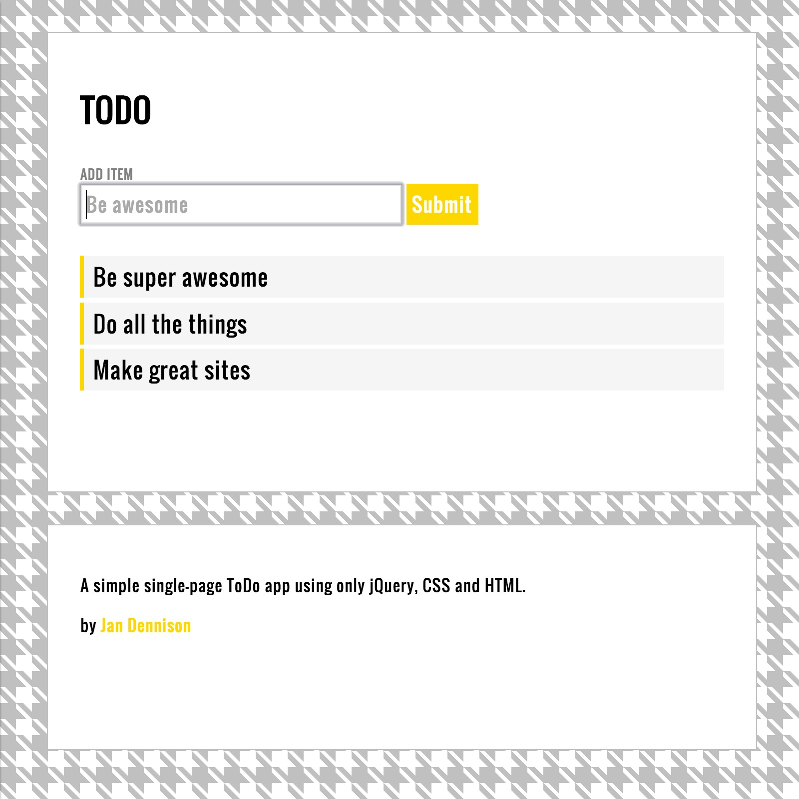 Sample of TODO - Single Page App