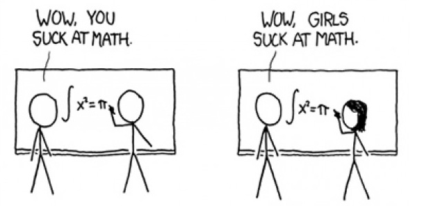 XKCD comic about girls stereotyped as bad at math